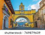 the colorful yellow arch of... | Shutterstock . vector #769879639