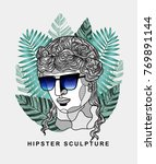 hipster classical sculpture.... | Shutterstock .eps vector #769891144