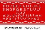 knitting alphabet texture.... | Shutterstock .eps vector #769904134