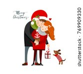 hapy couple on christmas ... | Shutterstock .eps vector #769909330