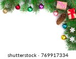 christmas background decorated... | Shutterstock . vector #769917334