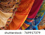 colorful fabrics are for sale... | Shutterstock . vector #769917379