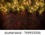 christmas garlands with...   Shutterstock . vector #769925530