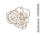 three beautiful line art roses  | Shutterstock .eps vector #769930354