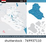 iraq map and flag   high... | Shutterstock .eps vector #769937110