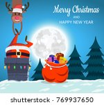 santa claus and deer on the... | Shutterstock . vector #769937650