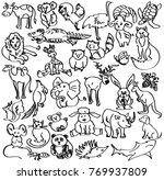 doodles of animals  sketch of... | Shutterstock .eps vector #769937809