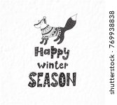 funny fox. winter postcard with ... | Shutterstock .eps vector #769938838