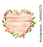 Watercolor Flowers With Wooden...