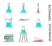 scientific set of laboratory... | Shutterstock .eps vector #769944178