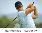 male golfer tees off during his ... | Shutterstock . vector #76994539
