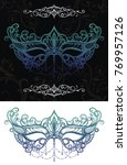 elegant carnival black lace mask | Shutterstock .eps vector #769957126