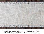 table fabric linen runner on... | Shutterstock . vector #769957174