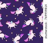 cute fat unicorn sleeping... | Shutterstock .eps vector #769959814