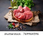 raw chopped meat with spices on ... | Shutterstock . vector #769964596