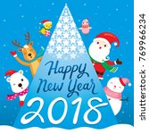 happy new year 2018 text  santa ... | Shutterstock .eps vector #769966234