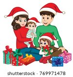 christmas with family | Shutterstock .eps vector #769971478