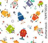 robots seamless pattern.... | Shutterstock . vector #769973014