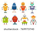 funny isolated robot set.... | Shutterstock . vector #769973740