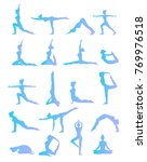 woman is doing yoga positions.... | Shutterstock . vector #769976518