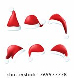 collection of red santa hats.... | Shutterstock . vector #769977778