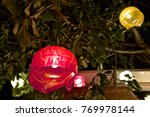 rudimentary lamps hanging from... | Shutterstock . vector #769978144
