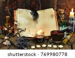old witch book with empty pages ...   Shutterstock . vector #769980778