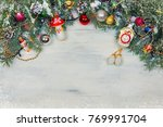 christmas wooden background... | Shutterstock . vector #769991704