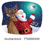 santa claus and the reindeer... | Shutterstock .eps vector #770000440