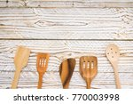 wood utensils or kitchen ware... | Shutterstock . vector #770003998