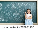 Small photo of Education is very important Learning to study for life,The story in the universe is a mystery, I need the answer To make progress, The girl in front of the space station In hand holding Chalk.
