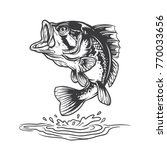 bass fish jumping mid air. | Shutterstock .eps vector #770033656