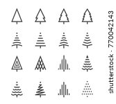 christmas tree thin line icons | Shutterstock .eps vector #770042143