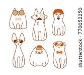 set of cartoon cat hipster... | Shutterstock .eps vector #770052250