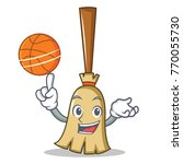 with basketball broom character ...   Shutterstock .eps vector #770055730