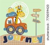animals journey vector cartoon... | Shutterstock .eps vector #770059420