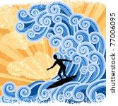 Surfer Rides  A Big Stylized ...