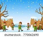 vector illustration of happy... | Shutterstock .eps vector #770062690