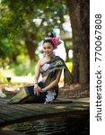 beautiful women with lao... | Shutterstock . vector #770067808