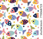 cute fish.  kids background. | Shutterstock .eps vector #770068723