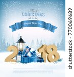 merry christmas background with ... | Shutterstock .eps vector #770069689