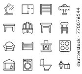thin line icon set   table lamp ... | Shutterstock .eps vector #770076544