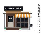 modern coffee shop building.... | Shutterstock .eps vector #770078158