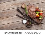 grilled vegetables and beef... | Shutterstock . vector #770081470