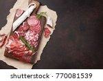 salami  sliced ham  sausage ... | Shutterstock . vector #770081539