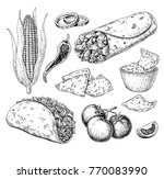mexican food drawing.... | Shutterstock .eps vector #770083990