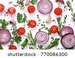 fresh vegetables and herbs on a ... | Shutterstock . vector #770086300