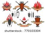 set of doner kebab emblems... | Shutterstock .eps vector #770103304