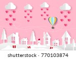 origami balloon on the sky and... | Shutterstock .eps vector #770103874