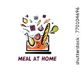 meal at home. online order food ... | Shutterstock .eps vector #770104696